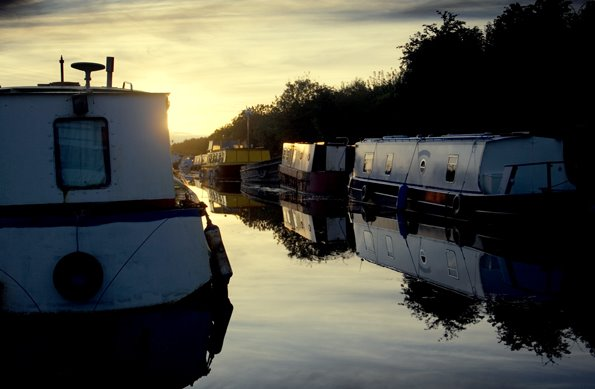 Evening Light, The Old Barrow Line, Lowtown Harbour, Co Kildare, Ireland.