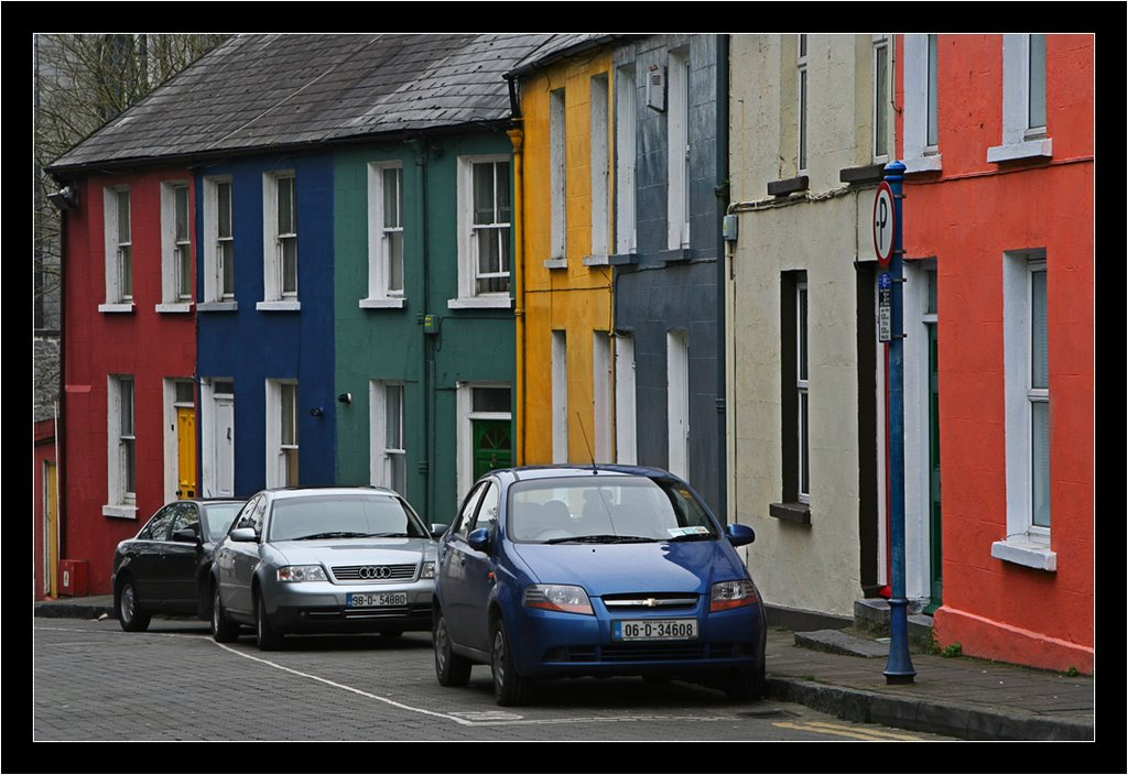 Typical coloured houses in Limerick - Ireland