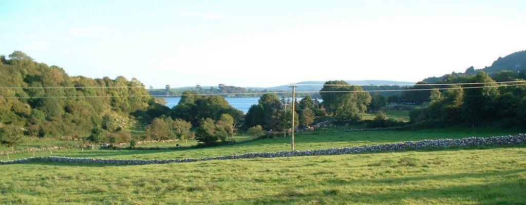 Inchiquin Lough over improved pasture with castle in background