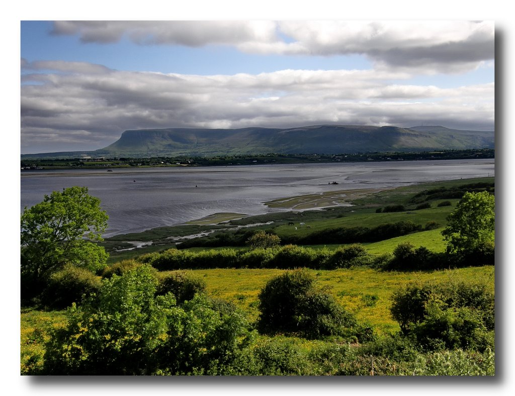 view over Sligo bay to Ben Bulben