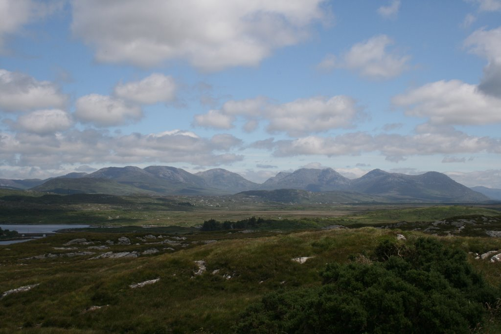 Twelve Bins Connemara as seen from Alcock & Brown monument Ballinaboy