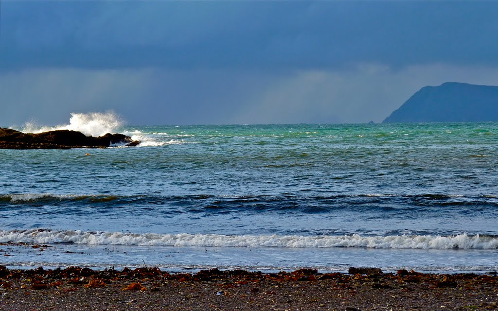 Ghostly distant Skellig Michael in stormy weather. November 2010