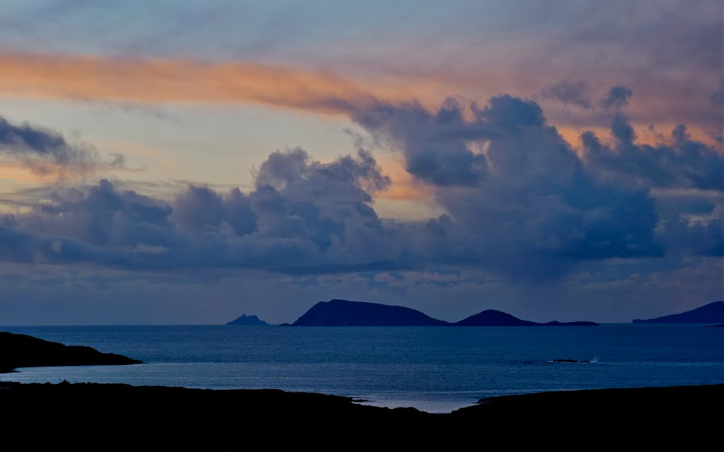 Skellig Michael, and Coulagh Bay at sunset. November 2010