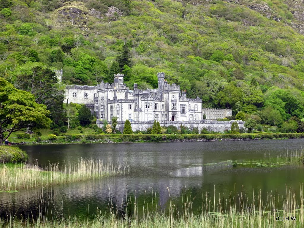 Kylemore, (Irish: Coill Mor) – the Big Wood. This splendid valley is dominated by Kylemore Abbey. The Castle was built in 1864-1871 by Englishman Mitchell Henry as a token of love for his wife, Margaret. It is now an Abbey, run by Benedictine nuns