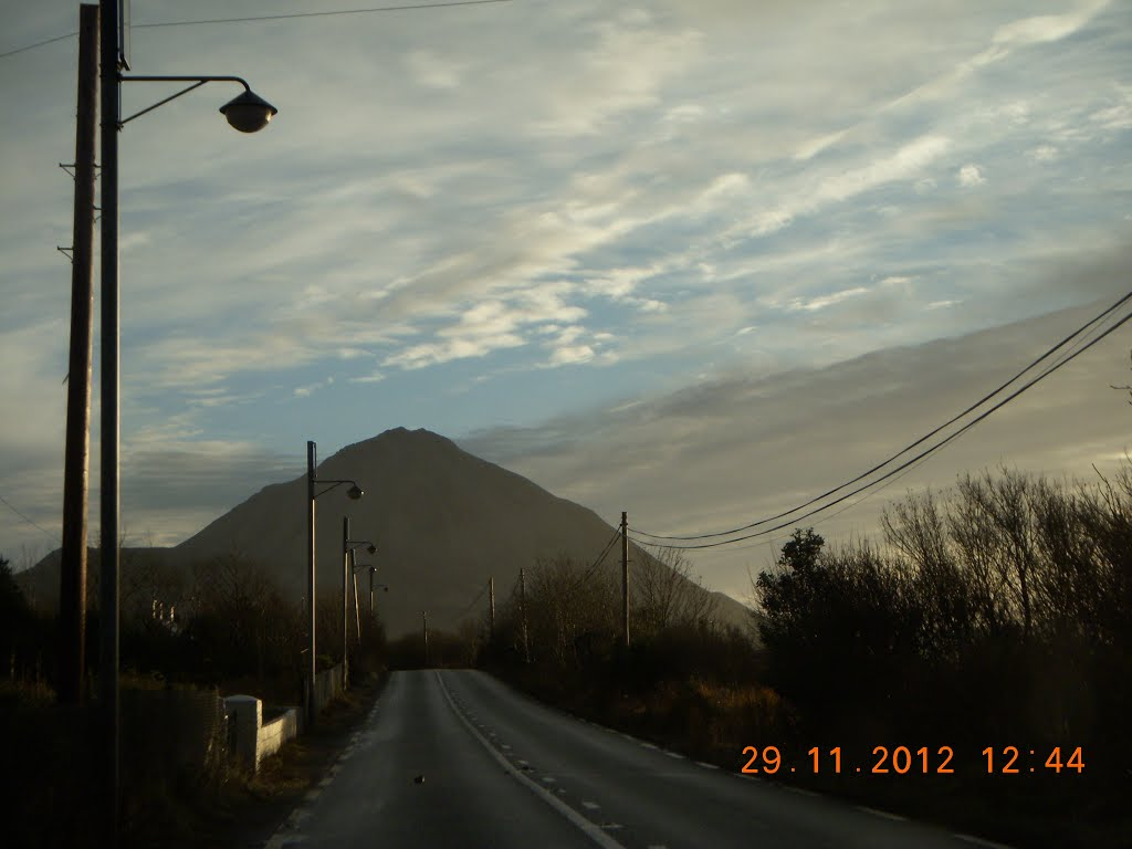 Errigal Mountain on a cloudy, overcast day.