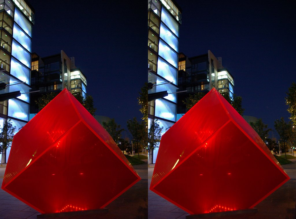 Red cube in Sandyford (3D)