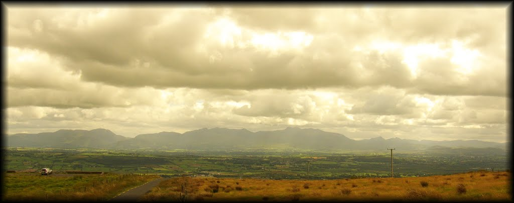 The broad sweep of the Reeks from above Tralee